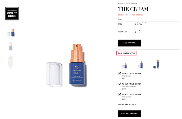 cross-sell on product pages