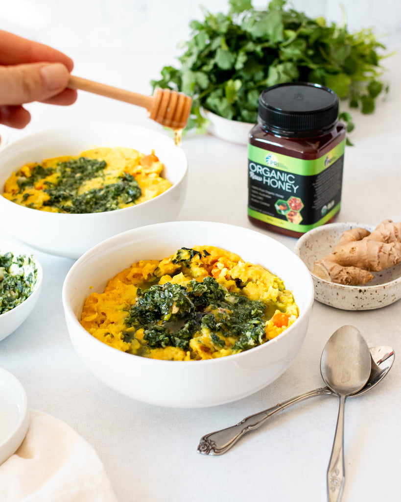 Ayurvedic Kitchari with Cilantro Honey Chutney