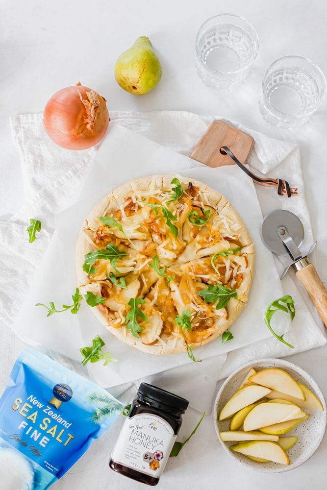Pear Honey Caramelized Onion Pizza