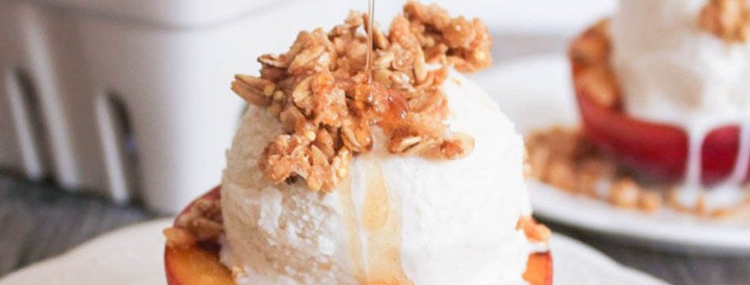 Grilled Peach Crisp Sundae with Cinnamon-Honey Drizzle