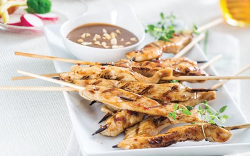 Grilled Chicken Satay with Honey Peanut Sauce