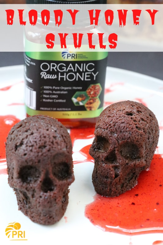 Bloody Honey Skull Cakes with PRI Organic Raw Honey!