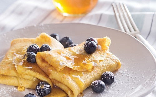 Honeyed Blueberry Breakfast Blintzes