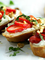 Strawberry, Basil, Honey-Goat Cheese Bruschetta