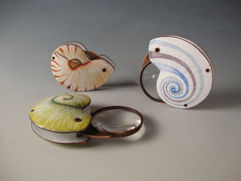 Shell Pocket Magnifiers - Copper & Enamel