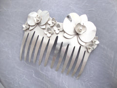 Silver Orchid Hair Comb