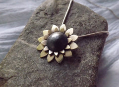 Mixed Metal Sunflower Pendant