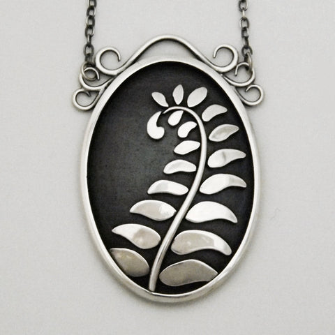 Fern Pendant Handcrafted in Eco Friendly Silver