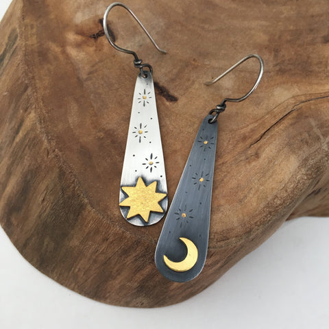 Gold Sun & Moon Earrings