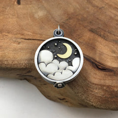 Gold Crescent Moon Night Sky Locket