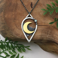 Gold Crescent Moondrop Pendant