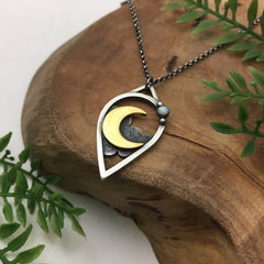 Gold Crescent Moondrop Pendant*