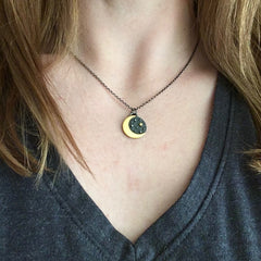 Gold Moon Charm Necklace
