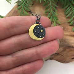 Gold Keum Boo Moon Necklace
