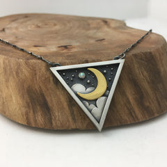 Golden Moonlight Triangle Necklace