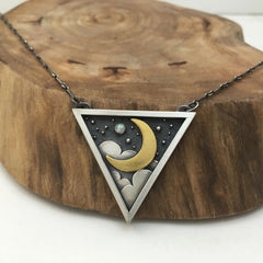 24k Gold Moon & Silver Triangle Jewelry