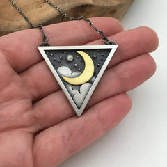 Golden Crescent Moon Pendant