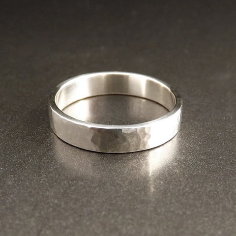 Thin Silver Band With Hammered Texture