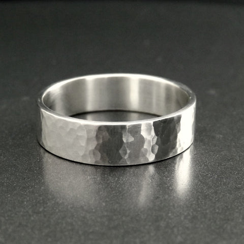 Wide Silver Promise Ring with Hammered Texture 6mm,8mm, 10mm
