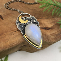 Silver & Gold Moonstone Necklace