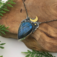 Gold, Silver & Blue Celestial Necklace