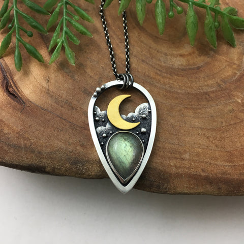 Labradorite in the Night Sky Pendant - Gold