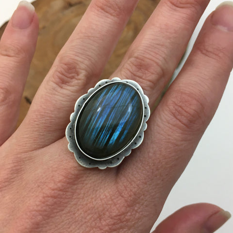 Labradorite Ring & Sterling Silver Setting