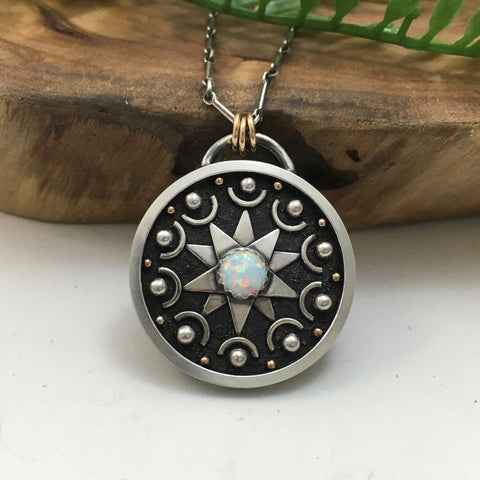 Celestial Mandala with Opal, Silver & Gold