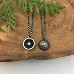 Reversible Moon & Opal Charm Necklace