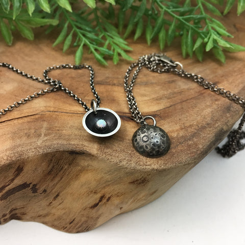 Mini Moon & Opal Reversible Charm Necklace