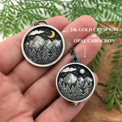 Landscape Jewelry - Crescent Moon or Opal