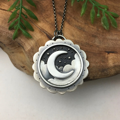Silver Crescent in the Night Sky Pendant *