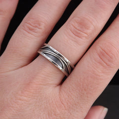 Black & Silver Promise Ring