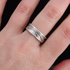 Light Silver Ornate Wedding Band