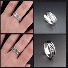 Matching Wedding Bands Handmade in Silver with Elegant Pattern