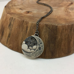 Silver Crescent, Clouds & Stars Necklace