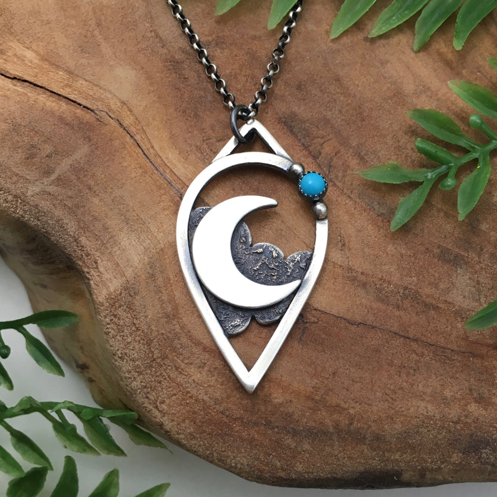 Silver Crescent & Turquoise Pendant
