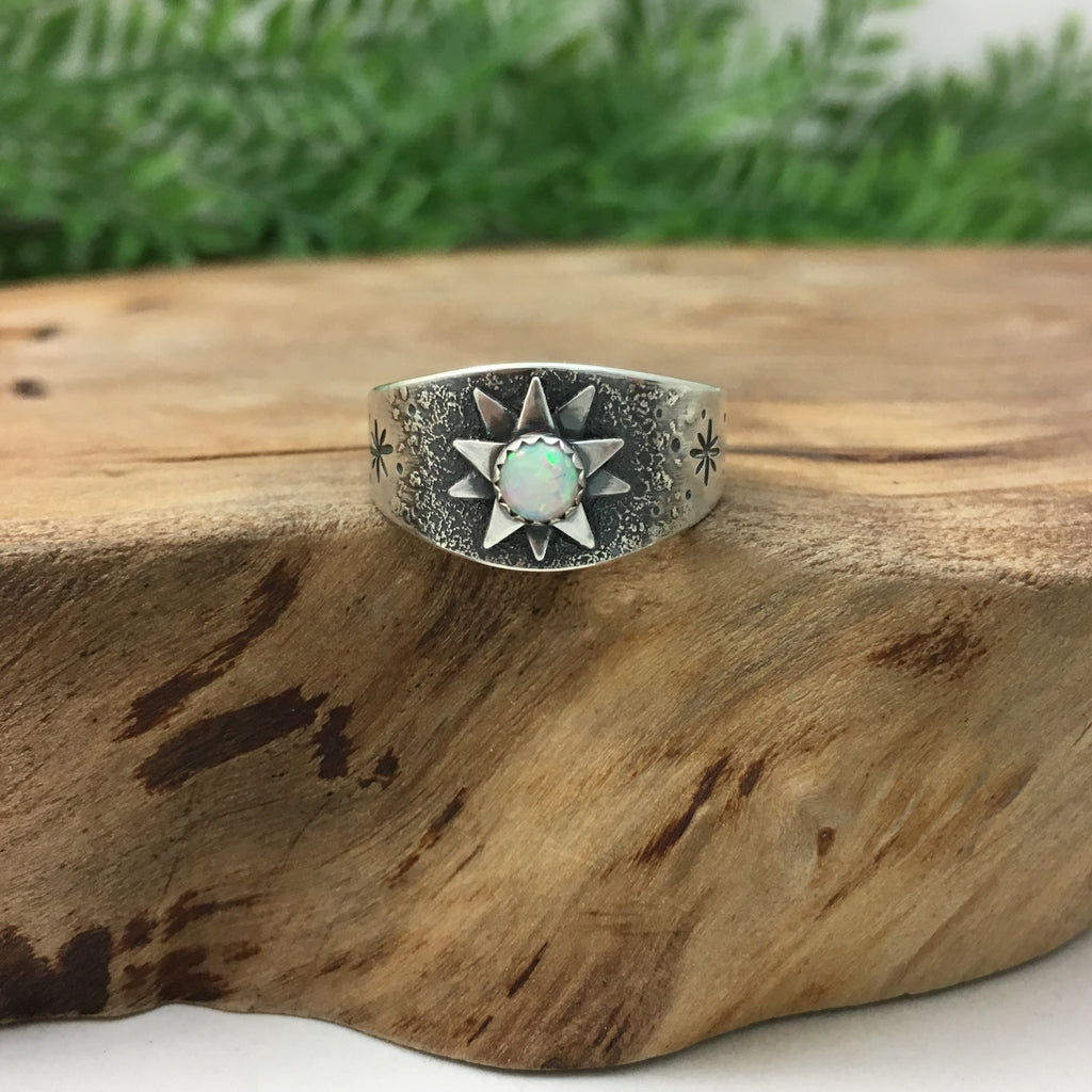 Stargazer Silver Wedding Band with Opal