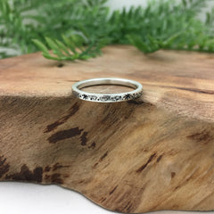 Simple Silver Star Wedding Band