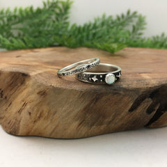 Celestial Wedding Band Set for Moonlovers & Stargazers
