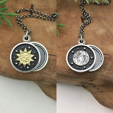 Mini Sun & Moon Swivel Photo Locket