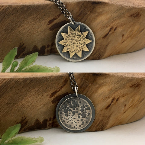 Reversible Sun & Moon Charm Necklace