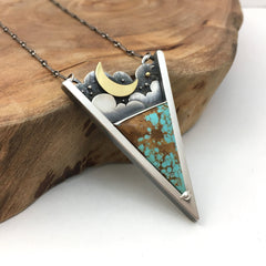 Turquoise Triangle Moon Pendant