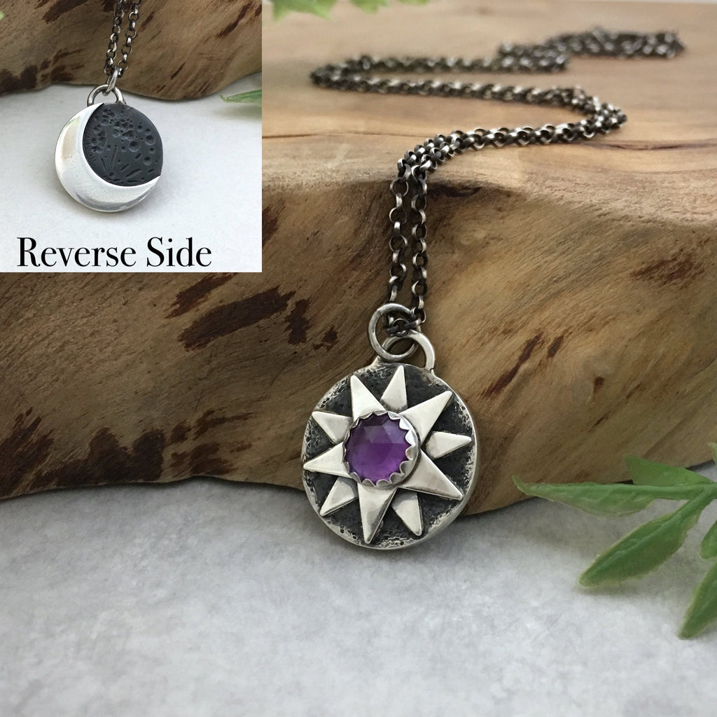 Amethyst Charm Star & Moon Necklace