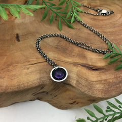 Amethyst Moon Charm Necklace