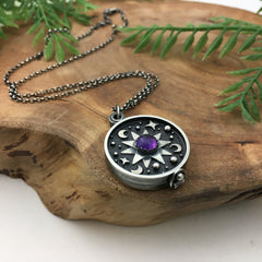 Amethyst & Cosmos Silver Locket Necklace