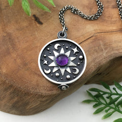Amethyst Galaxy Locket Handmade Sterling Silver
