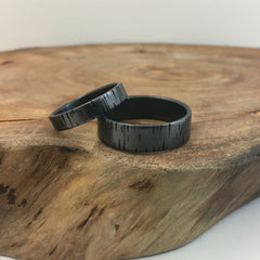 Matching Wedding Bands - His & Hers Tree Bark Bands