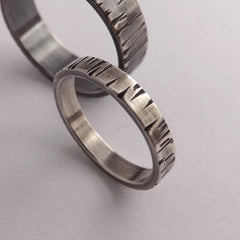 Bark Textured Silver Band / Promise Ring - Thin