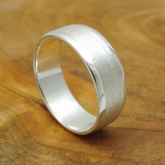 Classic Beveled Silver Wedding Band